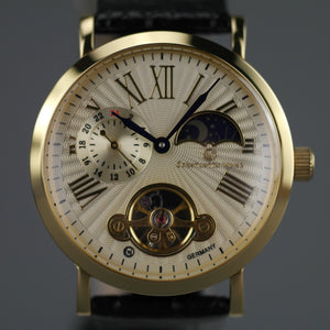 Constantin Weisz Gold plated mechanical wrist watch with black leather strap