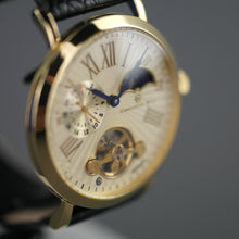 Load image into Gallery viewer, Constantin Weisz Gold plated mechanical wrist watch with black leather strap