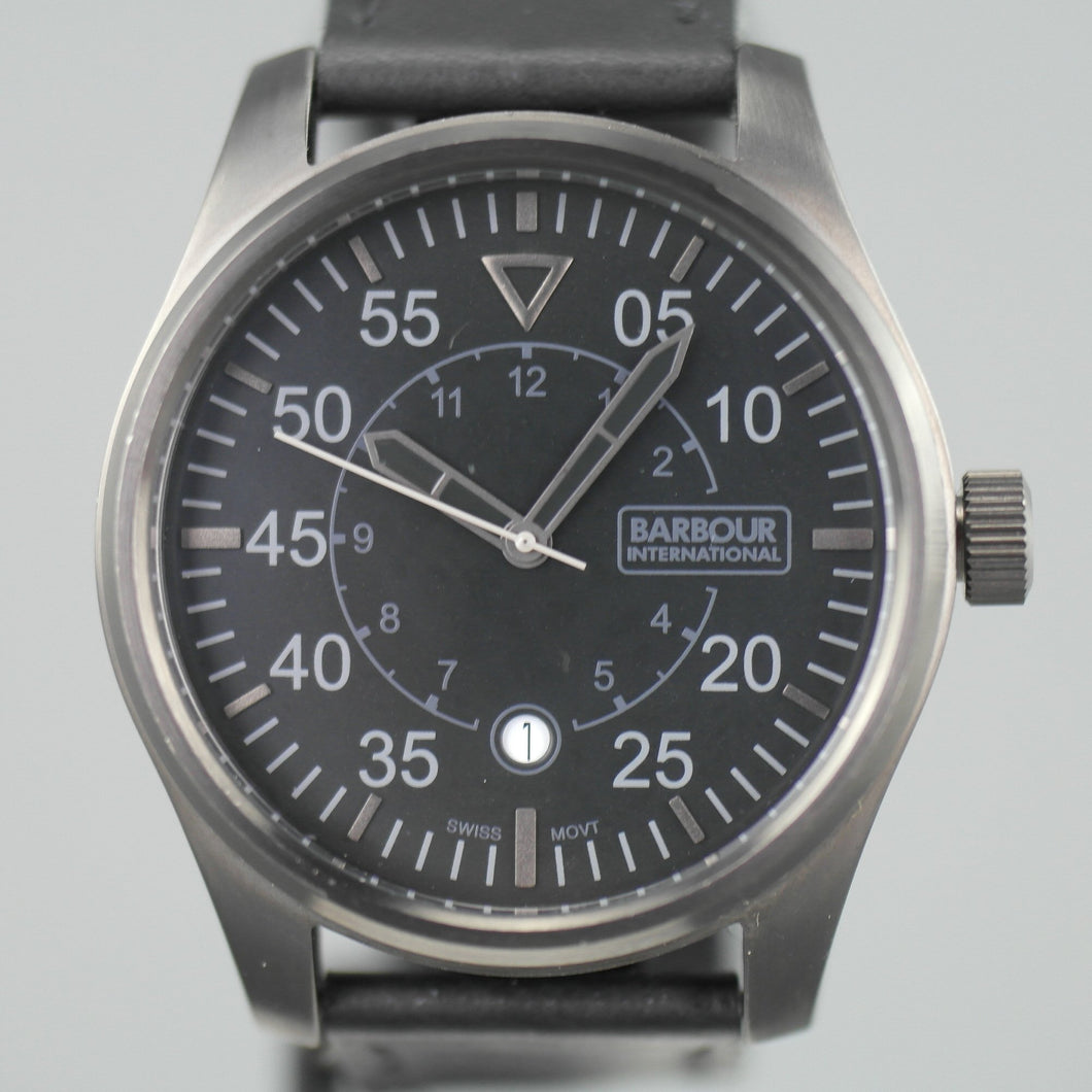 Barbour International Biker wrist watch black dial with date and leather strap