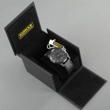 Load image into Gallery viewer, Barbour International Biker wrist watch black dial with date and leather strap