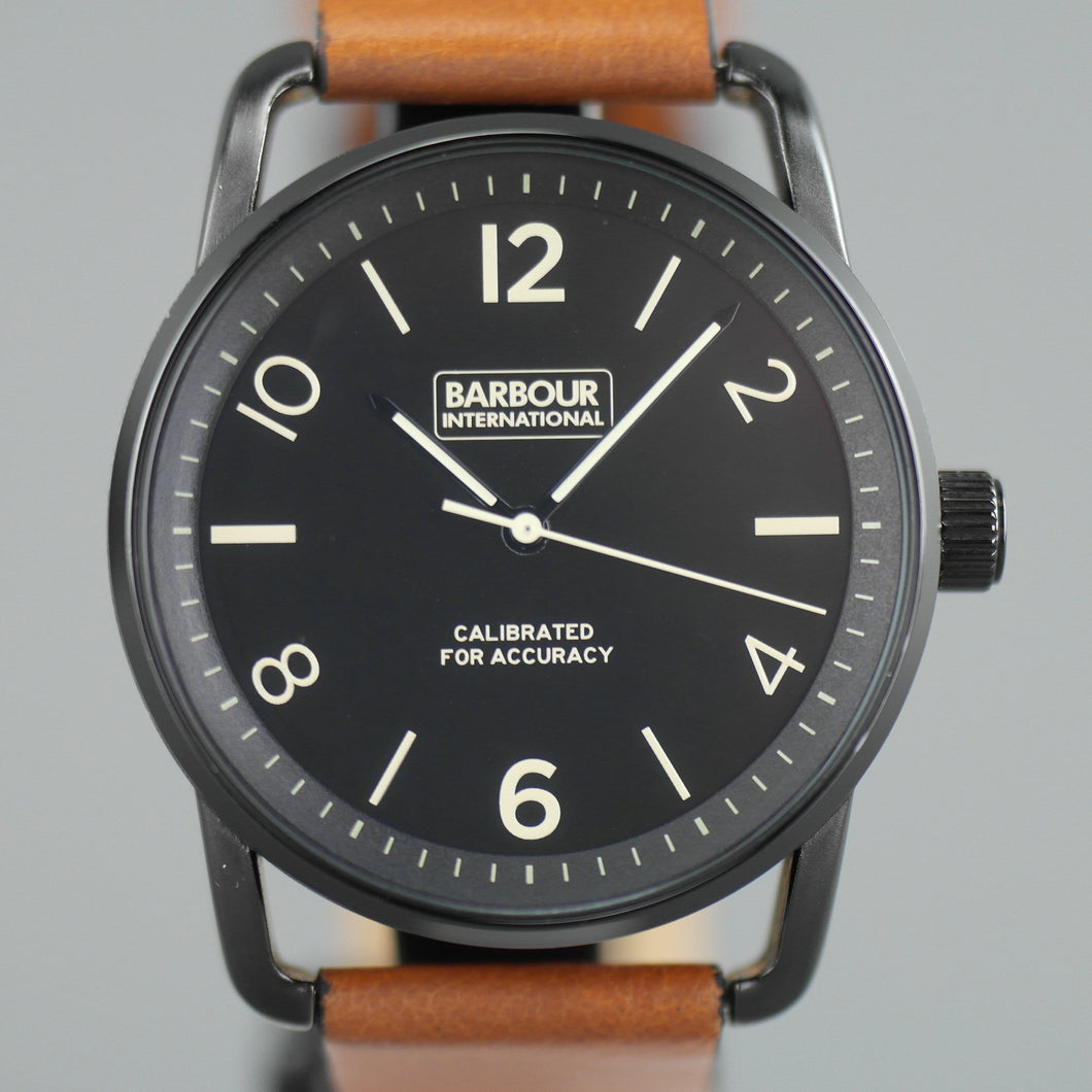 Barbour International black wrist watch with brown leather strap