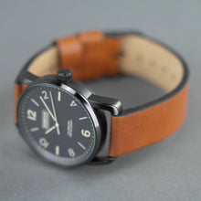 Load image into Gallery viewer, Barbour International black wrist watch with brown leather strap