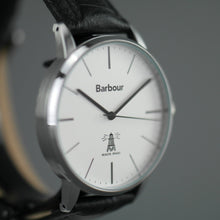 Load image into Gallery viewer, Barbour Hartley wrist watch with white dial and leather strap