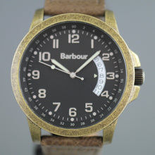 Load image into Gallery viewer, Barbour Bronze tone wrist watch with date and brown leather strap