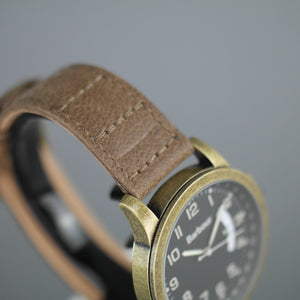 Barbour Bronze tone wrist watch with date and brown leather strap