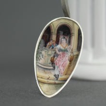 Load image into Gallery viewer, Antique Venetian enamel picture 900 solid silver spoon The Lion of St. Mark on the top