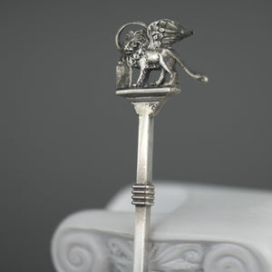 Antique Venetian enamel picture 900 solid silver spoon The Lion of St. Mark on the top