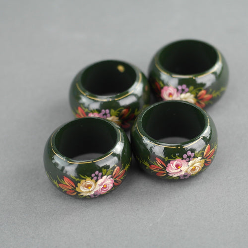 Vintage Russian four napkin rings set solid wood flowers on green colour