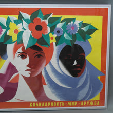 Load image into Gallery viewer, Original 1968 motivation poster Solidarity Peace Friendship by Ostrovsky