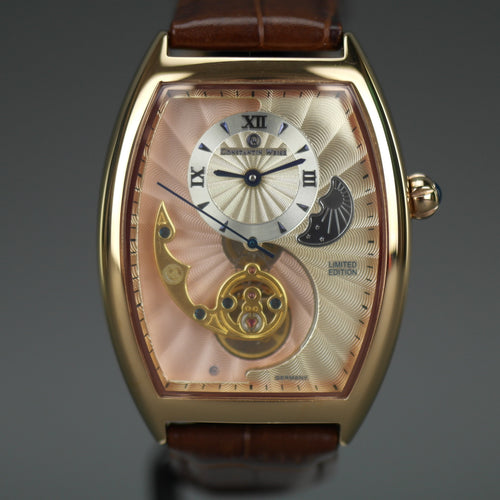 Constantin Weisz Limited Edition automatic gold plated wrist watch with leather strap