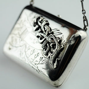 Antique solid silver wallet purse Emperor Nicolas II era of Russia 84