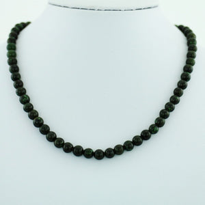 Antique Jade Nephrite beads necklace with Sterling clasp