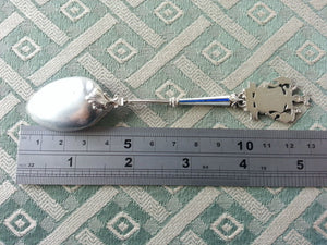 Enamel Solid Silver Spoon WIESBADEN Germany 800