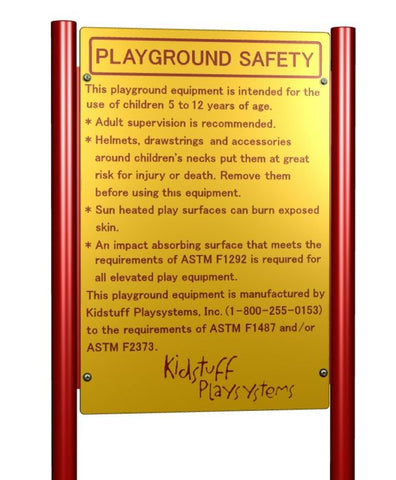 KidStuff PlaySystems Commercial Playground Equipment Safety Sign