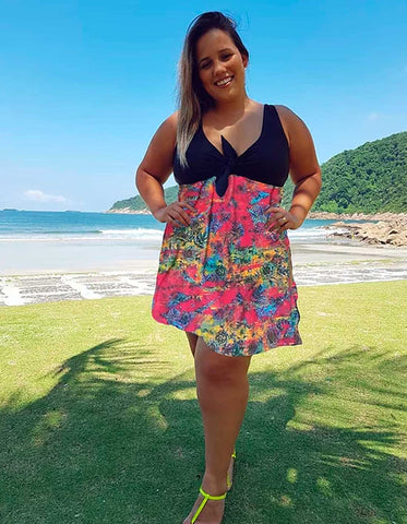 Maiô com Saida de Praia Sunset Plus Size - Divas Plus