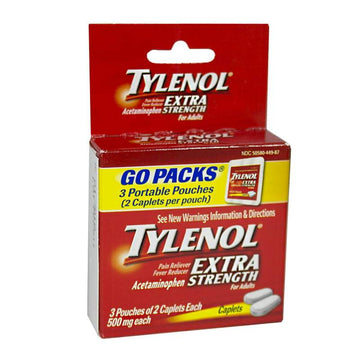 Tylenol Extra Strength Go Pack - 3 Pouches of 2 Caplets Ea