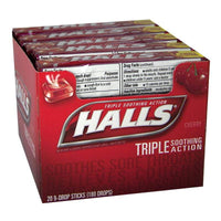 Halls Cough Suppressant Cherry Drops - Stick of 9 Drops