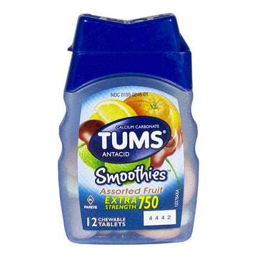 Tums EX Smoothies Assorted Fruit Antacid - Bottle of 12 Chewable Tab