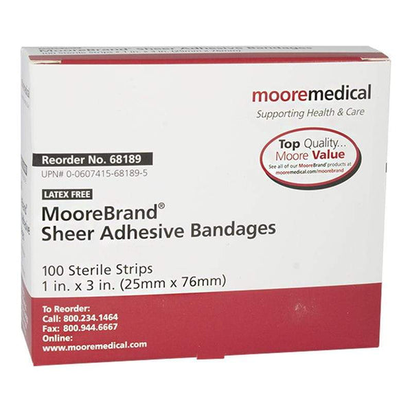 Sheer Plastic Bandages - 1 in. x 3 in.