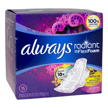 Always Radiant Regular w/ Wings Scented Pads - Pack of 15