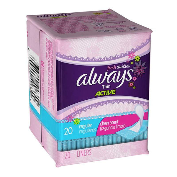 Always Thin Active Scented Liners - Pack of 20