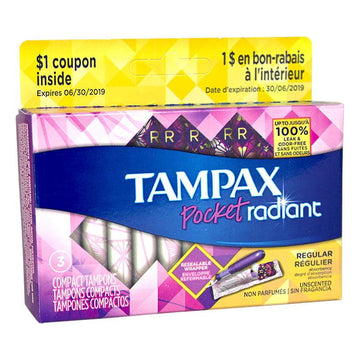 Tampax Pocket Radiant Regular Tampons - Box of 3