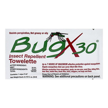 BugX 30% Deet Insect Repellent Towelette