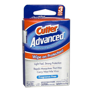 DISCONTINUED - Cutter Advanced Insect Repellent Wipes - Box of 3