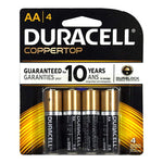 Duracell Coppertop AA/4 Batteries - Card of 4