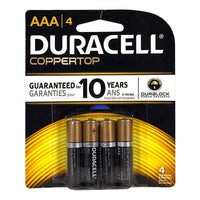 Duracell Coppertop AAA/4 Batteries - Card of 4