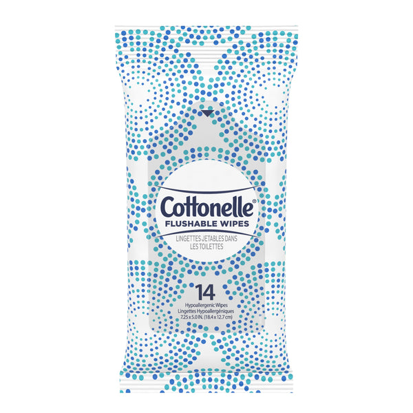 Cottonelle Flushable Moist Wipes - pack of 14