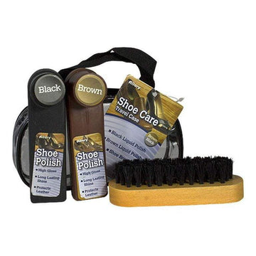 Allary Black & Brown Shoe Shine Kit - 4 Piece Kit
