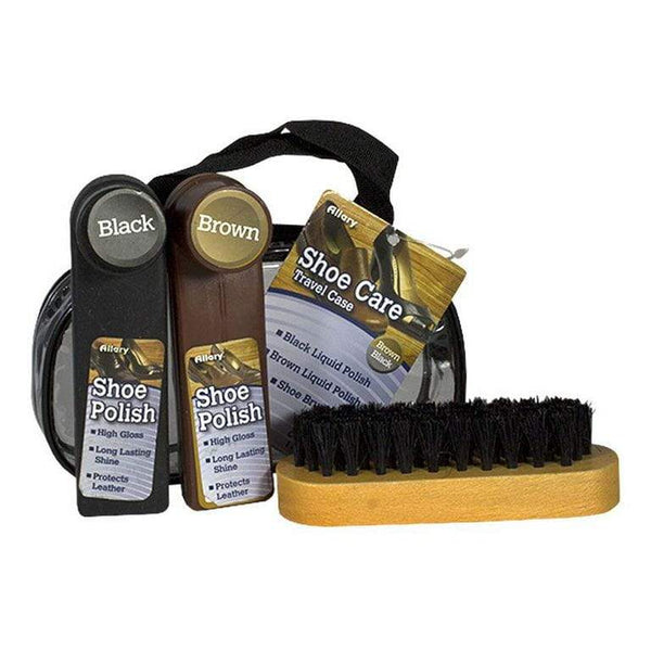 DISCONTINUED - Allary Black & Brown Shoe Shine Kit - 4 Piece Kit
