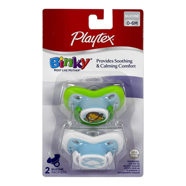 DISCONTINUED - Playtex Binky Silicone Pacifier 0 to 6 Month - Card of 2