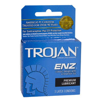 Trojan Enz Lubricated Condoms Box - Box of 3