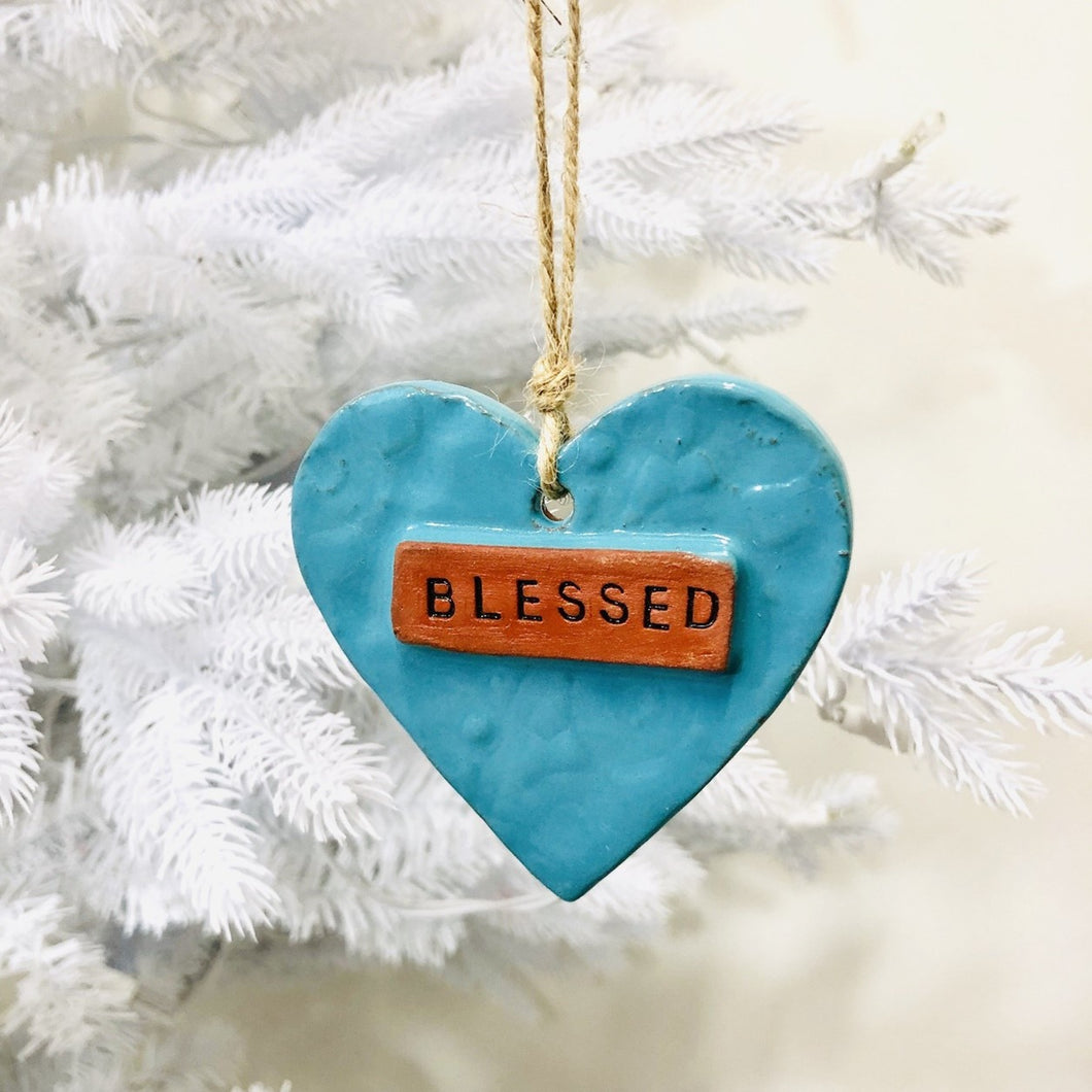 Blessed Ceramic Heart Ornament