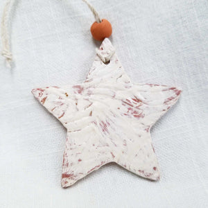 Clay Star Ornament White
