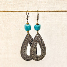Load image into Gallery viewer, Drop Charm Earrings Blue