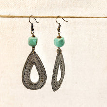 Load image into Gallery viewer, Drop Charm Earrings Green