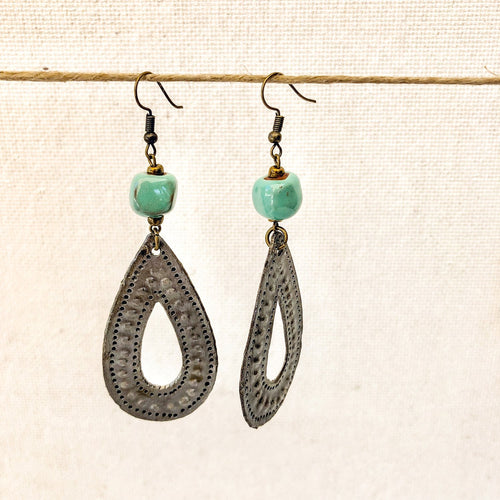 Drop Charm Earrings Green
