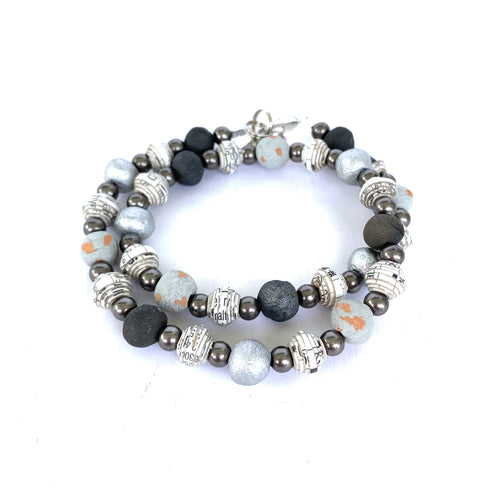 Pipo Wrap Bracelet Black & White