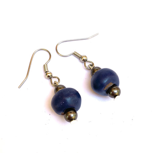 Simple Ceramic Earrings Indigo