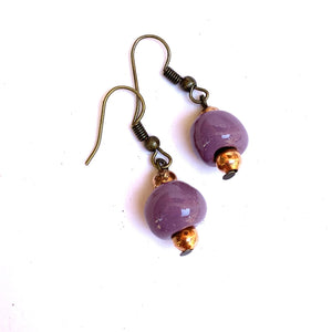 Simple Ceramic Earrings Lavendar
