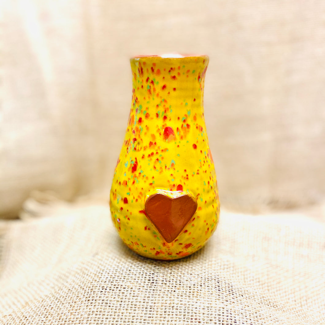 Calliope Heart Vase Speckled Yellow