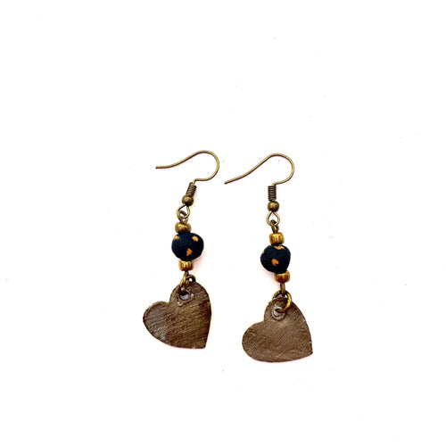 Steel Heart Earrings Black