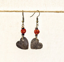 Load image into Gallery viewer, Steel Heart Earrings Red