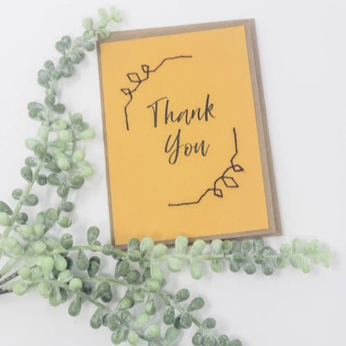 Thank you greeting card golden yellow