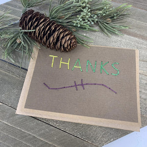 Thanks Greeting Card Dark Brown Multicolor