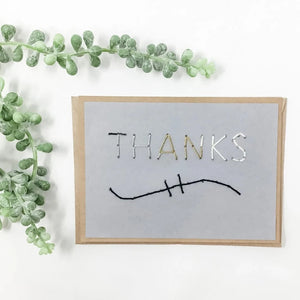 Thanks Greeting Card Grey Multicolor