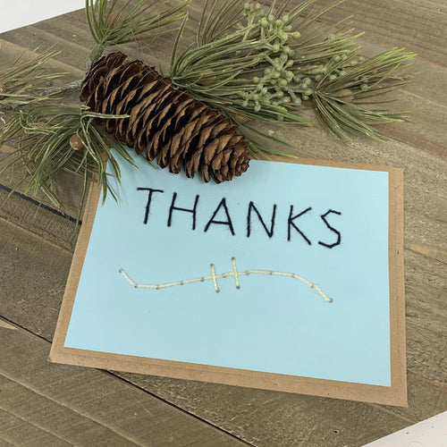 Thanks Greeting Card LIght Blue